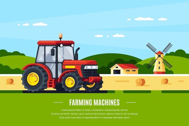 Trattore moderno nel campo, paesaggio rurale. macchine agricole. design di banner in stile piatto