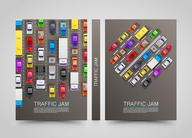 Bandiere verticali di trasporto moderno. set di volantini stradali. infografica sugli ingorghi stradali. illustrazione vettoriale
