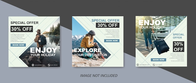 Modello di vendita di viaggio moderno per post di social media