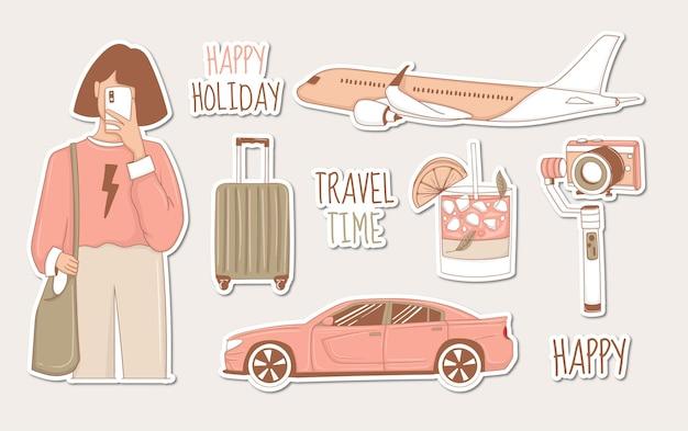 Set di adesivi da viaggio moderni con ragazza e alcuni elementi