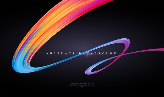 Trend moderno astratto sfondo nero con curvatura nastro luminoso a colori di vernice liquida