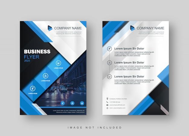 Modello di brochure moderno trendy blue flyer Vettore Premium