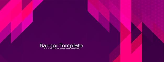 Vettore moderno di disegno dell'insegna del modello triangolare triangolare rosa e viola della bandiera