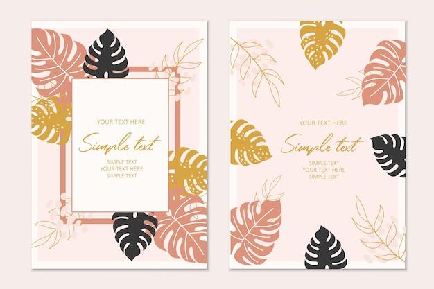 Modello di carta di invito tropicale moderno con foglie di monstera gialle, marroni, nere.