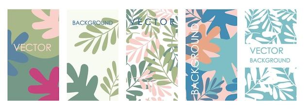 Inviti di foglie tropicali moderne e design del modello di carta. set vettoriale astratto di sfondi floreali astratti per striscioni, poster, modelli di copertina