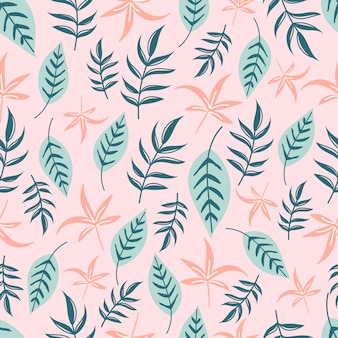 Modello senza cuciture tropicale moderno con foglie verdi e rosa.