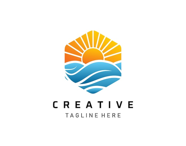 Logo moderno tropical sunset, tour e design del logo di viaggio.