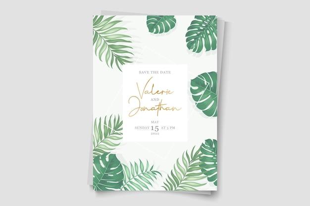 Design moderno del modello di invito di matrimonio tropicale