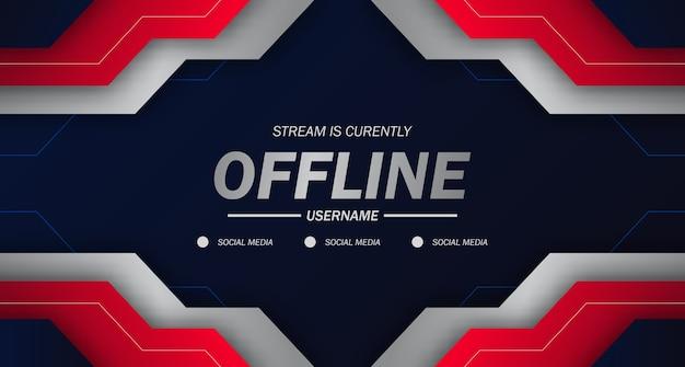 Modern twitch background screensaver offline stream gaming futures tecnologia sfondo con bordi taglienti geometrici di colore rosso