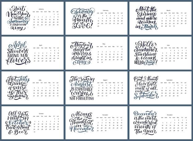 Composizioni di caratteri tipografici moderni per il calendario anno 2021 con citazioni di motivazione divertenti.
