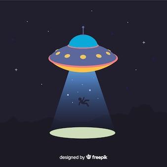 Moderno concetto di abduction ufo con design piatto