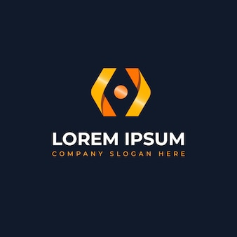 Concetto moderno e unico con il logo in codice adatto alle tecnologie di inforamtion e al software