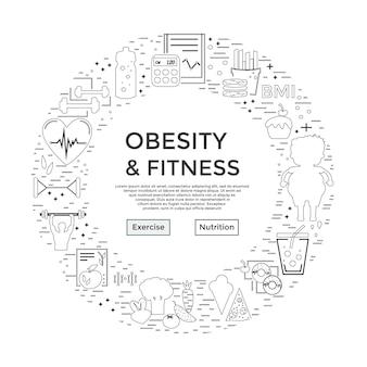 Volantino o pagina di destinazione banner per l'obesità e il fitness dal design moderno e unico per il sito medico