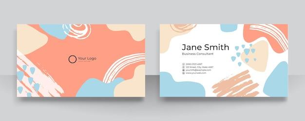 Collage vettoriali moderni con forme organiche disegnate a mano, trame ed elementi grafici per biglietti da visita. biglietto da visita semplice e pulito contemporaneo alla moda