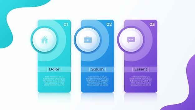 Design moderno vettore infografica con tre modelli di opzioni