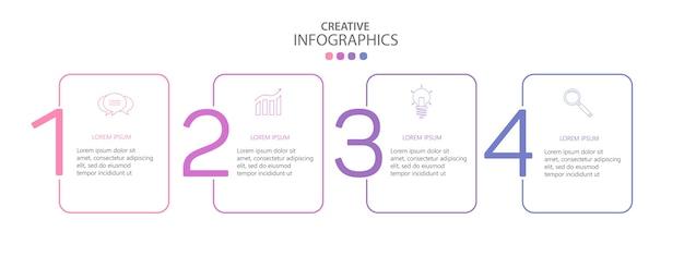 Modello di infografica vettoriale moderno con 4 passaggi per il business Vettore Premium