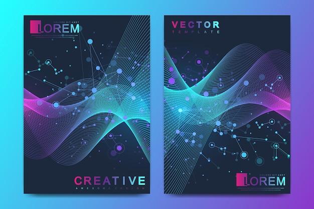 Modello vettoriale moderno per brochure, depliant, flyer, copertina, banner, catalogo, rivista o relazione annuale in formato a4. elica del dna, filamento di dna, molecola o atomo, neuroni. flusso dell'onda. linee plesso