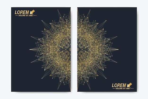 Modello vettoriale moderno per brochure volantino copertina rivista o relazione annuale layout dorato in un...