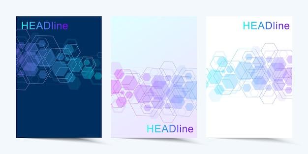 Modelli vettoriali moderni per brochure copertina banner flyer relazione annuale opuscolo esagonale molecolare st...