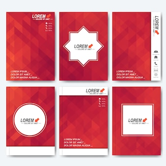 Modelli vettoriali moderni per brochure, volantini, copertine di riviste o report in formato a4. design aziendale, scientifico, medico e tecnologico. sfondo con triangoli rossi.