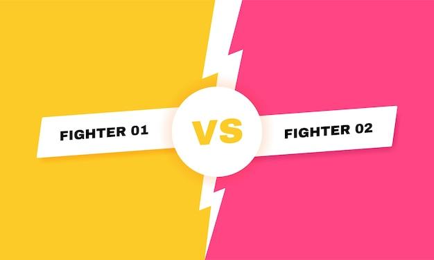 Moderno contro sfondo di battaglia. titolo di battaglia vs con fulmine. competizioni tra concorrenti, combattenti o squadre. illustrazione. Vettore Premium