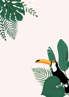 Insegna verticale moderna con foglie tropicali e uccello tucano.