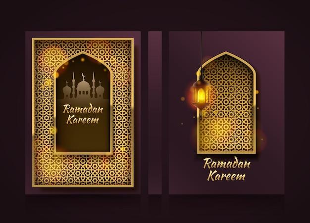Bandiere verticali moderne, copertina ramadan kareem, sfondo volantino ramadan mubarak, elemento di design modello, illustrazione vettoriale
