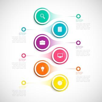 Infografica verticale moderna, illustrazione per affari, start up, istruzione, cronologia con passaggi, opzioni