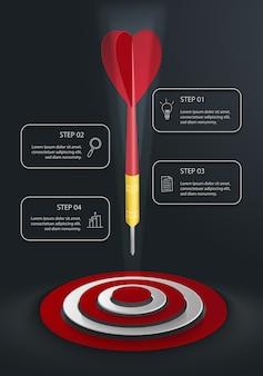 Moderna infografica verticale con target, dardo e quattro caselle di testo su sfondo scuro Vettore Premium