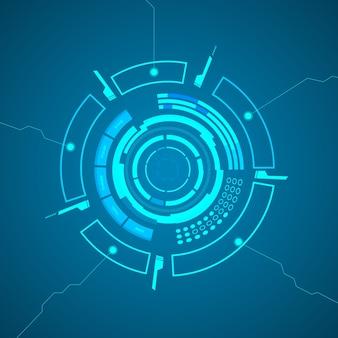 Poster di tecnologia virtuale moderna con vari elementi tecnologici, forme e linee come un fulmine sulla carta blu
