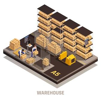 Illustrazione isometrica del processo operativo della struttura moderna del magazzino
