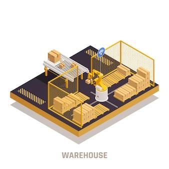 Magazzino moderno che riceve scatole con illustrazione isometrica del braccio robotico automatizzato