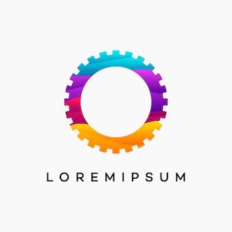 Il moderno logo dell'ingranaggio ondulato progetta il modello vettoriale, il simbolo del logo del meccanico, il modello dell'icona del simbolo del logo
