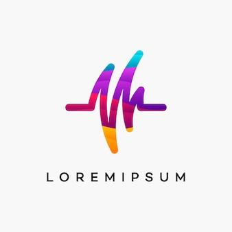 Il logo moderno di wavy pulse healthcare progetta il vettore