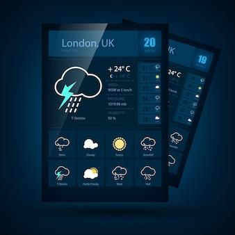 Simboli meteorologici moderni e icone e design dell'interfaccia