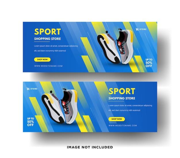 Modelli di banner web moderni. vendite di scarpe sportive