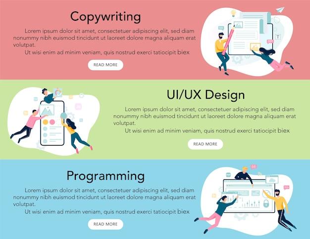Banner pubblicitario di servizi aziendali web moderni o intestazione del sito web. programmazione e ui, ux. copywriting. grattacielo di wevsite.