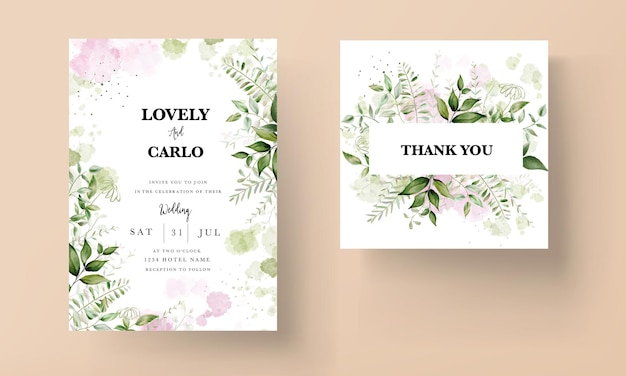 Moderno biglietto d'invito per matrimonio con foglie ad acquerello