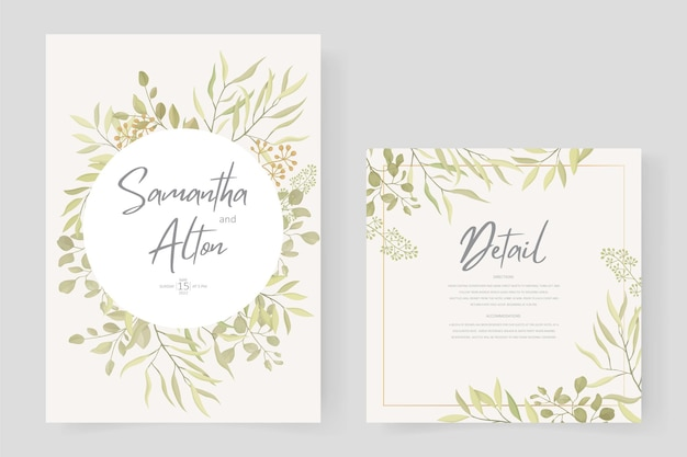 Design moderno modello di invito a nozze con ornamento a foglia Vettore Premium