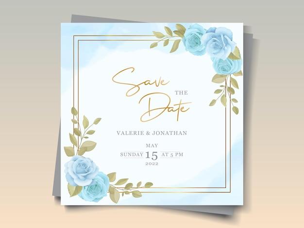 Modello di invito matrimonio moderno con disegno floreale blu