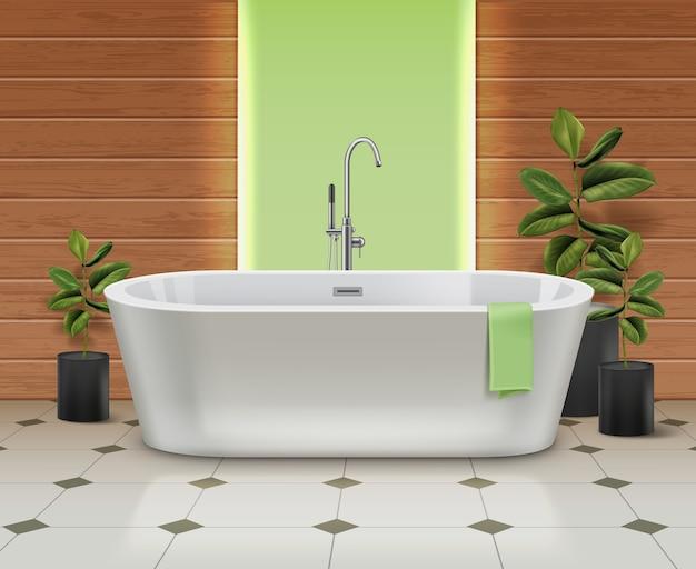 Moderna vasca da bagno bianca all'interno. bagno con asciugamano verde sul pavimento piastrellato con piante in vasi neri su sfondo di pareti in legno