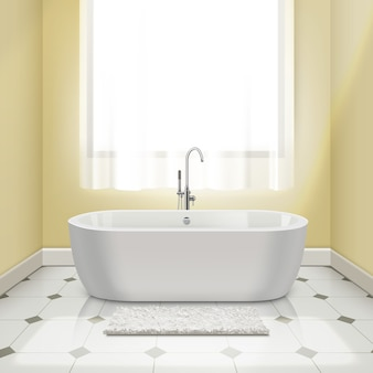 Moderna vasca da bagno bianca nell'illustrazione interna del bagno