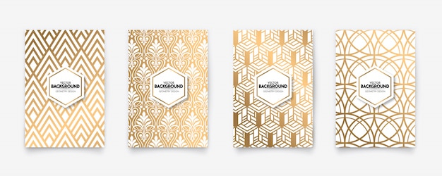 Fondo moderno di struttura di stile della geometria di art deco del modello dell'oro e di bianco