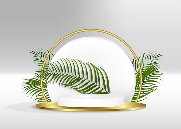 Bianco moderno con podio geometrico bianco e oro con foglia di palma verde piattaforma in ombra