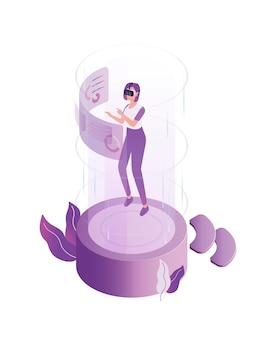 Donna moderna che indossa la cuffia avricolare 3d all'illustrazione piana del mondo di realtà virtuale