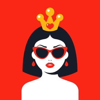 Donna moderna con una corona e occhiali