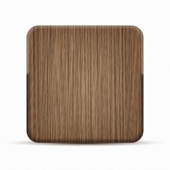 Icona moderna in legno su sfondo bianco.