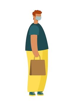 Il giovane moderno sta con un sacchetto di carta in una maschera medica. gambe grandi, testa piccola. vettore.