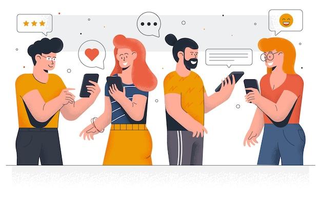 Moderna dei giovani che chiacchierano sugli smartphone. ragazzi e ragazze felici che comunicano insieme e messaggistica nei social media. facile da modificare e personalizzare. illustrazione