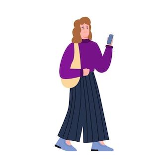 Giovane donna moderna con l'illustrazione di vettore del fumetto del telefono cellulare isolata